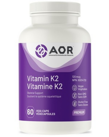 Vitamin K2 from AOR™ now provides MK-4 and MK-7, two natural forms of Vitamin K2 that help maintain bone health.