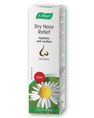 A. Vogel Dry Nose Relief nasal spray helps relieve nasal discomfort (itching, runny or stuffy nose, sneezing, mucus buildup) by lubricating nasal tissue.