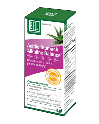 "Acidic Stomach Alkaline Balance may help restore your natural pH neutral alkaline body state. It consists of a unique blend of vitality-supporting ""super greens"" and life-enhancing phytonutrients that help maintain ideal acid-alkaline stability.*   Acidic Stomach Alkaline Balance features an additional selection of natural ingredients, including the sulfur-rich compound MSM (methylsulfonylmethane), nutrient-filled spirulina and stomach-soothing aloe vera. These ingredients combine with our super-green botan"