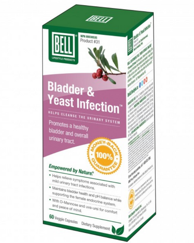 Bell Bladder & Yeast Capsules helps promote a clean and fresh urinary tract. Does not destroy good intestinal bacteria (gut flora/gut microbiota) like antibiotics. Supports your kidneys, bladder, and urethra. Supports the female endocrine system and helps fight yeast infections. Bladder & Yeast Infection combines six natural ingredients: uva-ursi extract, goldenseal extract, d-mannose, buchu extract, pumpkin seed extract and hydrangea extract for optimal urinary tract health. These herbs together play a par
