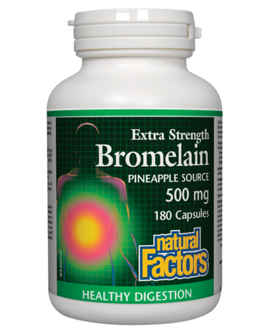 Natural Factors Extra Strength Bromelain capsules contain the highest amount of enzyme activity per capsule. Bromelain is a proteolytic enzyme that breaks down proteins into various amino acids during digestion. It also has superior anti-inflammatory properties, and plays a role in allergy control.
