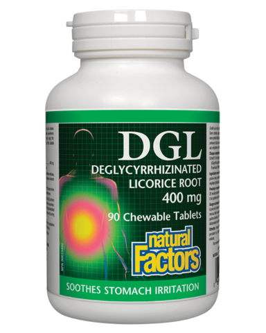 Natural Factors DGL Licorice Root Extract aids digestion and treats stomach complaints, including heartburn and indigestion. It soothes and protects the stomach lining, helping to heal ulcers and prevent their recurrence. DGL contains no glycyrrhizin, so it's completely safe, even for people with high blood pressure.