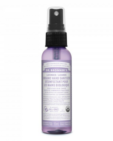 Dr. Bronner's Organic Hand Sanitizer Lavender quickly kills bacteria when no soap and water are available.