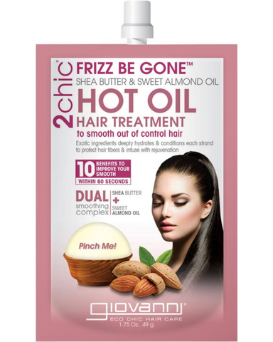 Giovanni 2chic Frizz Be Gone Hot Oil Treatment is frizz decoded. Improve your smooth with essential oils that know how to tame your mane. Caress locks with the smoothing elements of Shea Butter and Almond Oil.