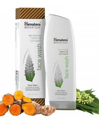 Himalaya Botanique Neem and Turmeric Face Wash brings balance back to your daily cleansing, with gentle, deep-cleaning ingredients that leave moisture behind, so you can enjoy clean, soothing clarity and comfort.  Known throughout history for its cleansing ability, Neem cleans oily skin and helps reduce occasional acne. Turmeric supports clear, healthy-looking skin and leaves you feeling clean and refreshed. And extracts from Vitamin E and Coconut Oil leave your skin feeling soft and moisturized after clean