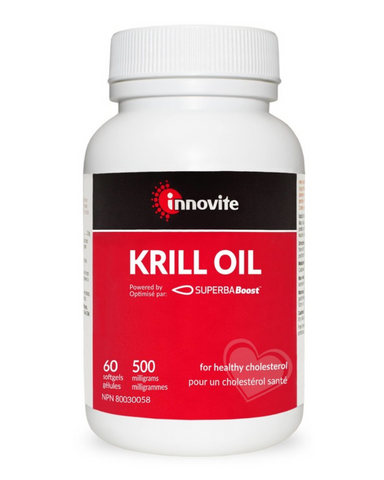 Innovite Krill Oil is powered by SUPERBABoost™️, this krill oil is made from pure, eco-harvested Antarctic krill: 100% traceable and sustainable. Patented technology removes unwanted salts while increasing concentrations of omega-3 (EPA and DHA) and phospholipids. This allows for smaller, highly bioavailable and easy-to-swallow softgels with no fishy aftertaste or odour.  Source of omega-3 fatty acids for the maintenance of good health. Helps to maintain cardiovascular health and reduce C reactive protein l