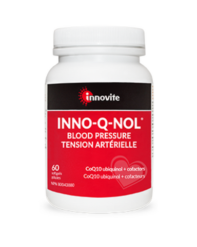 Inno-Q-Nol® Blood Pressure is a well rounded, multi-pronged formula that assists in maintaining healthy blood pressure levels. It features cardiovascular supporting ubiqiunol plus patented-grape seed and cocoa bean extracts - antioxidants known for their blood pressure benefits. Also included is an effective daily does of magnesium.