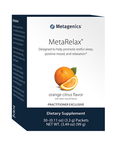 MetaRelax is a great tasting orange citrus flavored magnesium powder blend.  This unique formula features a magnesium amino acid chelate (bis-glycinate) designed to enhance absorption and intestinal tolerance.* It also features taurine, vitamins B6, B12, and folate.  Together, these nutrients help to promote restful sleep, positive mood, and relaxation.*
