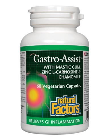 Natural Factors Gastro-Assist provides comprehensive gastrointestinal support, helping to soothe occasional digestive complaints including diarrhea, constipation, bloating, gas, and heartburn. This unique combination of mastic gum, probiotics, zinc L-carnosine, and chamomile helps protect the stomach and intestines by supporting healthy gut microflora and healthy immune function.  Gastro-Assist from Natural Factors is a synergistic formula that relieves symptoms of inflammatory conditions of the gastrointe