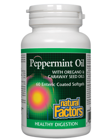 Natural Factors Peppermint Oil supports healthy digestion naturally. Each ingredient has effective antifungal properties while the enteric-coated softgels deliver the oil directly to the lower digestive tract where it is most soothing for symptoms of irritable bowel syndrome (IBS) and digestive upsets.  It is estimated that approximately 15% of the population has complaints of irritable bowel syndrome (IBS), making IBS one of the most common gastrointestinal disorders. Natural Factors Peppermint Oil combine