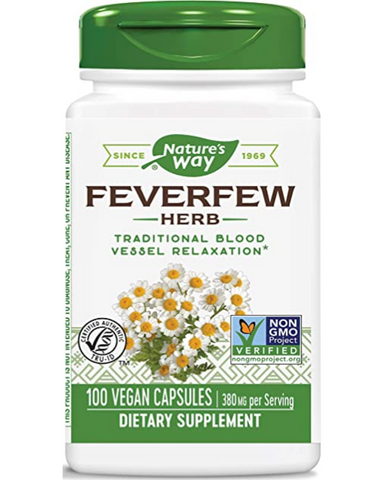 Feverfew has been traditionally used to support blood vessel tone. It is also useful for relieving headaches and migraines. Nature's Way Feverfew is harvested at peak potency.