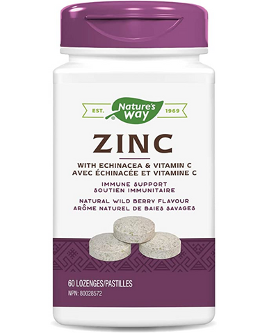 Nature's Way Zinc with Echinacea and Vitamin C is a combination formula for immune support. Zinc helps to maintain immune function. Vitamin C is an antioxidant for the maintenance of good health. Nature's Way Zinc is Vegetarian. These delicious lozenges have a pleasing natural wild berry flavour.