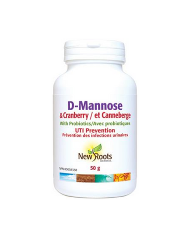 New Roots Herbal D-Mannose and Cranberry is formulated as an effective alternative to antibiotics for the treatment of often-recurring urinary tract infections (UTIs). D-Mannose and Cranberry is formulated with therapeutic proportions of three proven natural ingredients.