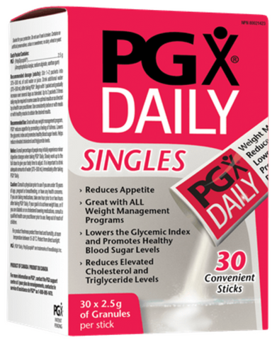 PGX (PolyGlycopleX®) is a patented super fibre complex made up of natural, highly viscous polysaccharides. When taken with meals, PGX expands in the stomach over a 30-minute (or longer) timeframe. This process creates a feeling of fullness by absorbing water and filling the stomach while slowing digestion. This slows the absorption of carbohydrates, effectively lowering the glycemic index of the food.  By slowing the release of glucose into the bloodstream, PGX levels out the peaks and crashes of the unheal