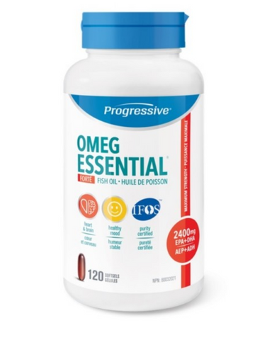 Progressive OmegEssential FORTÉ Maximum Strength Fish Oil is designed to provide a more therapeutic dosage intended to address specific health challenges. This includes promoting healthy mood balance, supporting cardiovascular health, reducing serum triglycerides and easing the pain of Rheumatoid Arthritis.  Each serving provides 1,600mg of EPA and 800mg of DHA in a balanced 2:1 ratio. It also includes a family of support nutrients designed to naturally enhance your body's ability to process and utilize the