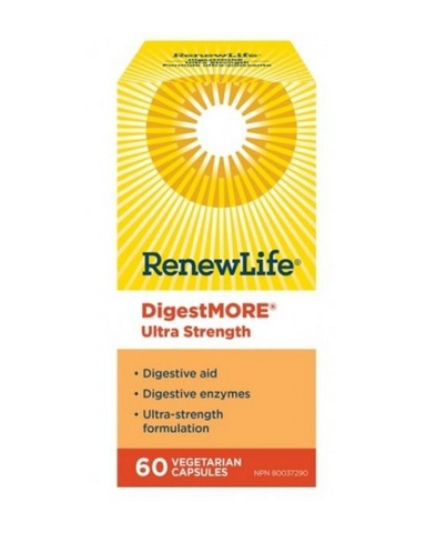 High potency DigestMORE ULTRA contains enzymes to breakdown all of the components of food. It can help to alleviate the signs of poor digestion such as gas, bloating, constipation, cramps and tiredness after eating.
