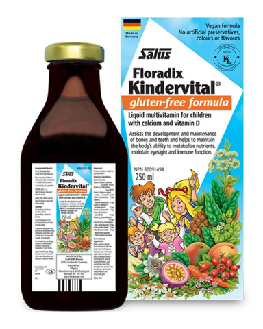 Kindervital® is a delicious fruity tonic children love. It contains vitamins A, B, C, D, and E, as well as key minerals, and is thoughtfully prepared in a pure food base of delicious fruit juices, aqueous herbal and vegetable extracts, maple syrup, honey, rosehip, and other nutritious extracts, as well as mild digestive herbs to support a healthy appetite.