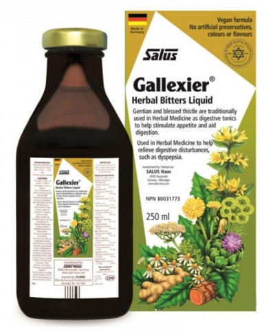 Are you sometimes struck by the tell-tale feelings of sluggishness and fullness after a particularly heavy meal? Embrace a time-tested European tradition and end your meals on a bitter note (the good kind!). This mildly bitter tonic is traditionally used to support healthy digestion. Gallexier® Herbal Bitters combines stimulating herbs and bitter food extracts to support digestion, including artichoke leaves, dandelion, turmeric root, gentian root, blessed thistle, and 7 other time-honored herbs. Its taste