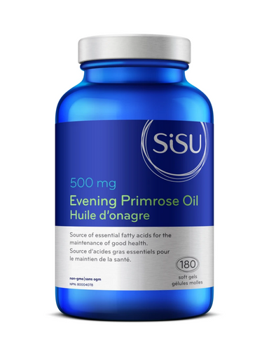 SISU Evening Primrose Oil is a source of essential fatty acids for the maintenance of good health.  Features:  High-potency, cold-pressed evening primrose seed oil Provides support against inflammation associated with arthritis Supports healing in skin conditions such as dermatitis and eczema Supports hormonal balance against symptoms of PMS including breast tenderness, headaches, cramping, and mood swings Prostaglandins are factors in immune function and reproduction