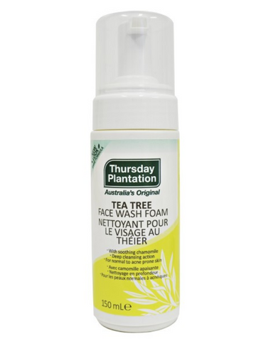 Thursday Plantation Step 1 Tea Tree Face Wash Foam is a natural soap-free foaming cleanser. The cleanser captures the power of Tea Tree Oil to gently remove sebum excess, dirt and makeup without stripping the skin of its natural oils. It leaves the skin looking clearer, fresher and healthier. The foaming, soap free face wash is ideal for combination/oily skin and helps to cleanse acne prone skin.