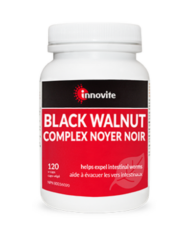 Innovite's Black Walnut Complex is a combination of the most effective herbs needed to keep intestinal worms from causing unwanted symptoms. With added soothing herbs such as ginger and calendula to help ease the process and relieve digestive disturbances.