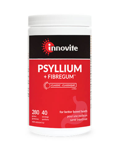 Psyllium + Fibregum powder promotes gentle relief and regularity. It's an ideal blend for those experiencing loose stool, constipation or both. Psyllium, one of the most effective fibres for maintaining digestive health pairs perfectly with soluble organic acacia Fibregum. Provides 7 g fibre per scoop.