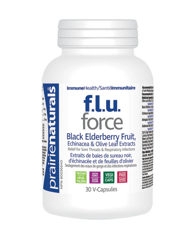 FLU-Force a potent blend of herbs recognized for their anti-viral and immune supporting function. Olive leaf Extract, Black Elderberry & Echinacea Angustifolia Extracts are blended with Astragulus, Golden Seal, Dandelion, Cat's Claw, Licorice Root, Neem Leaf, Burdock Root and Ginger Root to help relieve the symptoms of sore throats and upper respiratory tract infections.