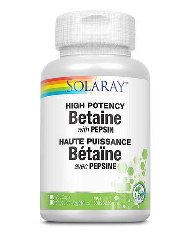 Solaray High Potency Betaine with Pepsin is a digestive enzyme that helps to support liver function and helps to support digestion.