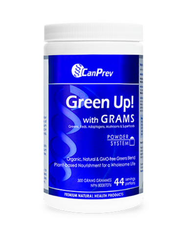 Green Up! is the first and only formulation of its kind to combine the raw power of greens, red fruits and superfoods (like spirulina, chlorella, acai and goji), then augment it with a potent dose of immune-boosting mushrooms and fatigue-fighting adaptogenic herbs.