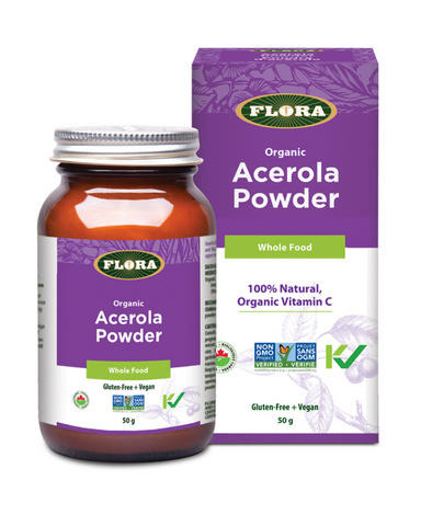Need a boost of vitamin C? Each serving of Flora's Acerola Powder provides 14 times more vitamin C than an orange. Flora's Acerola Powder, pressed from organically-grown fruit, adds a tart, tangy note to smoothies and juice.