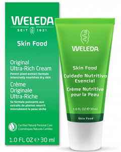 Weleda Skin Food Original Ultra-Rich Cream is great for dry and rough skin. This product intensely hydrates and cares for the skin. Ultra-moisturizing, pure lanolin and organic pansy nourishes and soothes dry and damaged skin. A precious essential oil blend of lavender, rosemary and sweet orange oil refresh the skin and the senses. Apply this whole body cream to your skin anytime, with special attention to extra dry areas, such as the feet, hands and elbows.