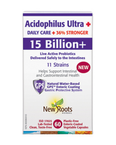 Acidophilus Ultra + features the same 11 scientifically researched probiotic species found in our popular Acidophilus Ultra formula, but with 15 billion live, active cells! That's 36% more colony-forming units (CFUs), fully protected by our natural, water-based GPS™ enteric coating.