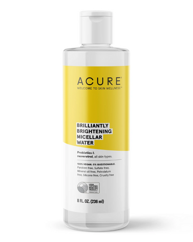 Acure Micellar water is made of micelles, suspended cleansing oil molecules, that draw out dirt while providing moisture so this can act as cleanser, makeup remover, and moisturizing toner. With probiotics, argan oil, coconut and resveratrol, this bottle is a real glow-getter.