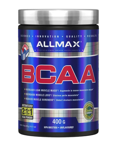 With 80 full servings per 400g container, Allmax BCAA's (Branch Chain Amino Acid) is a low cost high quality supplement any one training should be taking. Taking this product you should see increases in your lean muscle mass with a decrease in muscle soreness and loss. This product is highly anti-catabolic, and produced with the highest quality BCAAs.