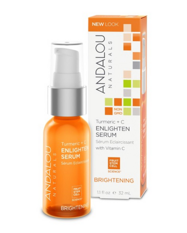 ANDALOU naturals Fruit Stem Cell Science renews skin at the cellular level, blending nature and knowledge for visible Brightening results.  Fruit Stem Cell Complex, turmeric, and Vitamin C effectively 'lighten, tighten and brighten' by targeting hyperpigmentation and UV damage, swiftly neutralizing free radicals, while activating collagen and elastin for even tone and a firmer, smoother complexion.