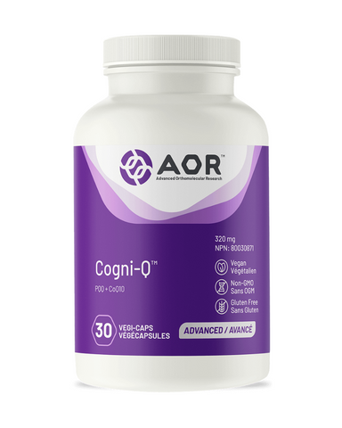 AOR's Cogni-Q® is a powerful formula for those who are concerned with supporting a healthy aging brain, protecting their cognitive health, healing the brain after injury and providing the body and brain with antioxidant protection in just one capsule a day. PQQ is an essential nutrient, meaning that your body cannot produce it on its own and it must therefore be obtained from diet or supplements