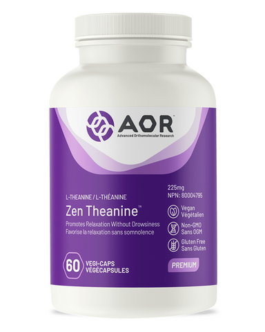 Zen Theanine™ contains L-theanine, a calming amino acid which is beneficial for those who suffer from stress and anxiety, or those who find it difficult to focus, relax, or fall asleep. L-theanine is a unique amino acid found almost exclusively in green tea. It helps reduce nervousness and restlessness, promoting relaxation but without causing drowsiness.