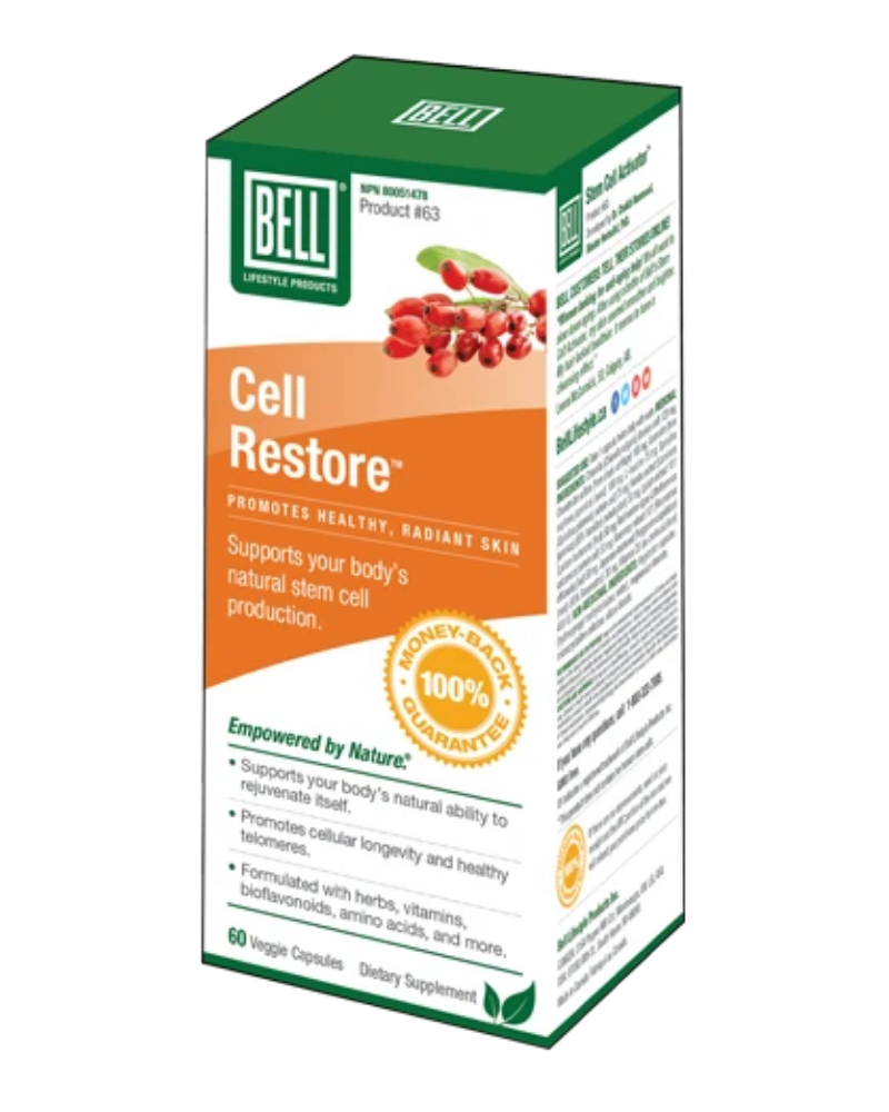 Cell Restore™ helps activate millions of stem cells from your own bone marrow naturally. The increase in stem cells released from the bone marrow into the blood stream have the potential to become other types of tissue cells with specialized functions. Stem cells are able to become heart cells, liver cells or any other organ's cells. Located everywhere in our body, stem cells are even under our skin, layered between the epidermis and dermis.