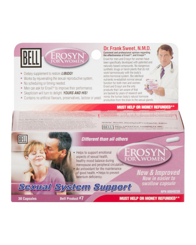 The New & Improved Erosyn for women helps rejuvenate the sexual reproductive system naturally, while supporting emotional aspects of sexual health. Erosyn helps to increase circulation, desire, passion, and sexual energy. This daily supplement also supports healthy mood balance during menopause. We've added Ashwagandha extract, Maca extract, and Ginkgo biloba extract to the original formula, greatly increasing its effectiveness.*