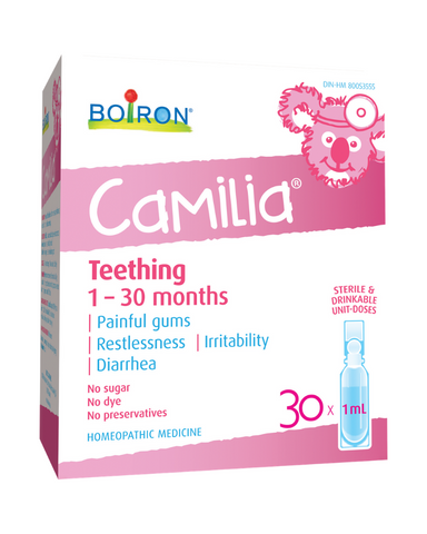 Boiron Camilia is homeopathic medicine used to relief of pain, restlessness, irritability and diarrhea due to teething.