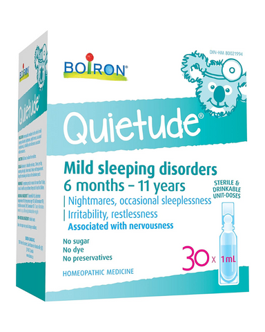 Help your child have a peaceful sleep with Quietude - a homeopathic medicine that relieves mild sleeping disorders including nightmares, night terrors, occasional sleeplessness, and irritability associated with nervousness.