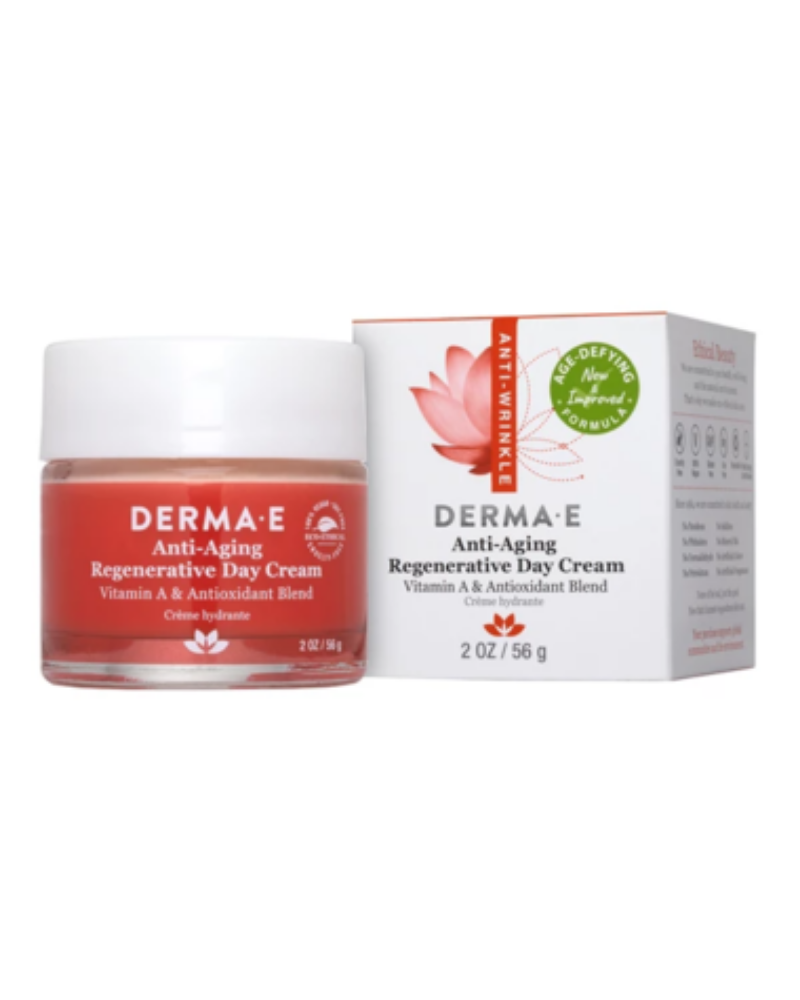 Derma E Anti-Aging Regenerative Day Cream is formulated with two of the strongest antioxidants designed for topical application. Astaxanthin is 500 times more powerful than Vitamin E in neutralizing free radicals, and Pycnogenol® is 50 times more potent than Vitamin E in fighting free radical damage. Fortified with luscious Jojoba Oil, nourishing Vitamins C and E and Lavender essential oil, this is the ideal anti-aging day cream.