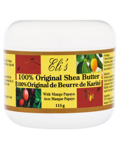 Eli's 100% Original Shea Butter is a unique body therapeutic agent and moisturizer. Therapy for severe dryness, cracks, scars, stretch marks, blemishes, wrinkles, acne, eczema, skin allergies, insect bites, sunburn, frostbite, cuts, dermatitis and swelling. It nourishes, rejuvenates, and beautifies the skin.