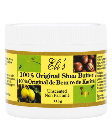 Eli's 100% Original Shea Butter is the Unique body therapeutic agent and moisturizer. Therapy for severe dryness, cracks, scares, stretch marks, blemishes, wrinkles, acne, eczema, skin allergies, insect bites, sunburn, frostbite, cuts, dermatitis and swelling. It nourishes, rejuvenates, and beautifies the skin.