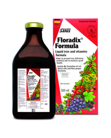 Floradix® is a unique low-dose tonic of highly soluble iron and whole food concentrates with vitamins B and C.  Replacing lost iron in your body has never been easier. Safe and effective for long term use, and easy on the digestive tract, Floradix® is additive and preservative free.