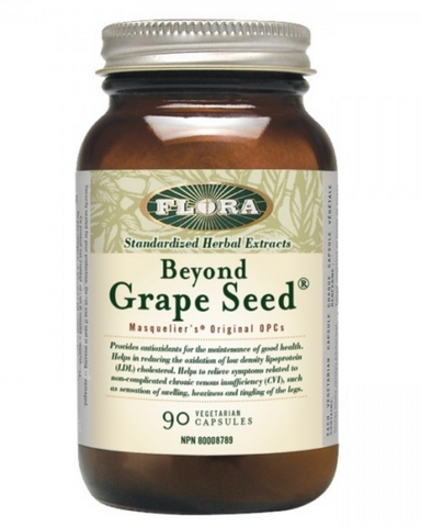 Flora's Beyond Grape Seed blends powerful antioxidants and cell and tissue protectors (known as Oligomeric Proanthocyanidins or OPCs) derived from Grape Seeds, with a full spectrum of bioflavonoids from bilberries and cranberries. The result? A supplement that can be used to combat free radicals linked to premature aging, LDL cholesterol, circulatory problems, and other health concerns.