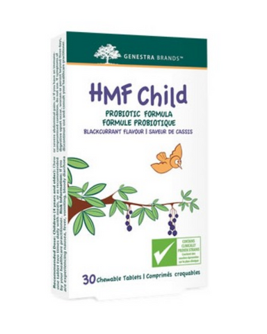 Genestra HMF Child is a moderate level probiotic ideal for children.  Contributes to a natural healthy gut flora 12.5 billion CFU per dose Chewable tablet with natural blackcurrant flavour