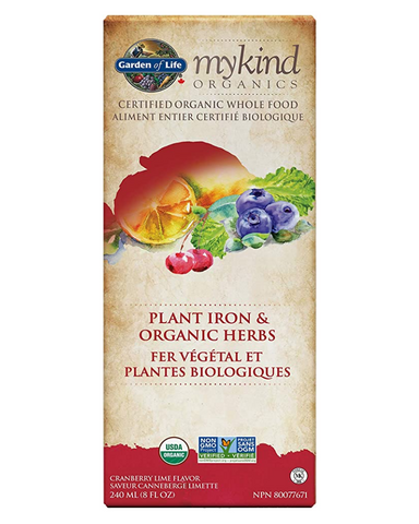 Garden of Life® mykind Organics PLANT IRON & ORGANIC HERBS is the first and only Certified USDA Organic, Non–GMO Project Verified liquid plant iron that delivers iron only from plants— with no chemical iron added. This delicious cranberry-lime liquid provides 10mg of plant iron and is made only from whole foods, delivering whole food Vitamin C from Amla berries to help with iron absorption, along with vitamins B6 and B-12. It is also free of chemical preservatives and artificial ingredients.