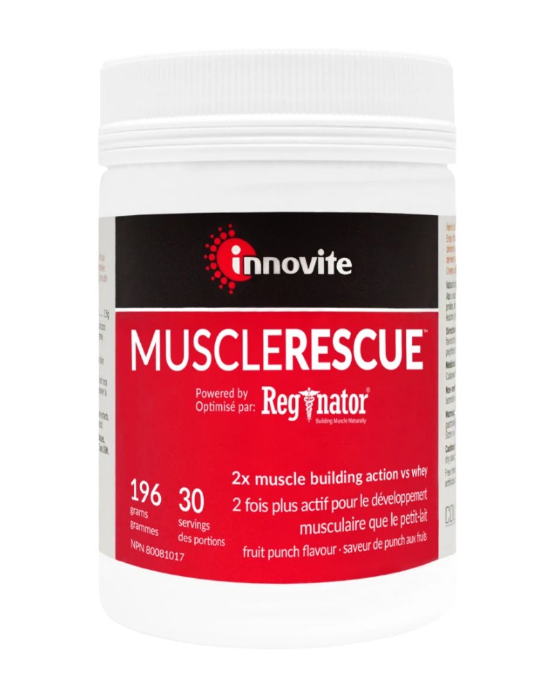 MuscleRescue™️ is powered by Reginator®, a patented, optimized vegan blend of essential amino acids, clinically proven to preserve and increase muscle tissue growth. It's shown to provide a remarkable 800% increase in strength during surgical recovery, making it ideal for pre/post surgical procedures.