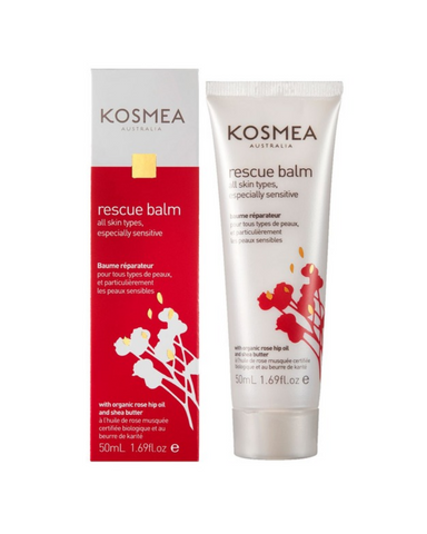 Kosmea Rescue Balm is a natural healing ointment that helps treat an extensive range of skin issues and emergencies. Rich in essential fatty acids, natural vitamin A and antioxidants, this preservative free formula incorporates premium certified organic: everlasting oil, lavender oil and calendula oil. These oils promote recovery, help relieve dry or itchy skin, sooth burns and act as anti-inflammatories. To assist with scarring and burns, this rescue blam contains certified organic rose hip butter. It's es